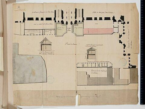 Plan du rez-de-chaussée des bâtiments de l'aile nord de la Cour Carrée du Louvre