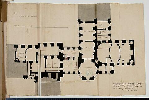Projet pour le Louvre. Plan de l'attique (?) des bâtiments de l'angle sud-ouest de la Cour Carrée du Louvre, 1775