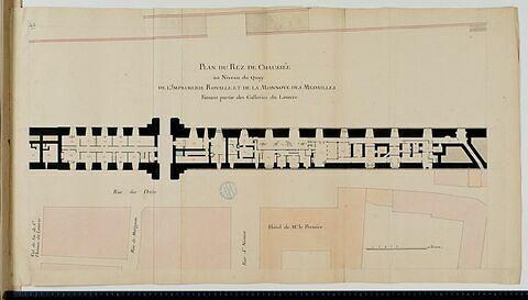 Plan du rez-de-chaussée de l'Imprimerie royale et de la Monnaie des Médailles au Louvre