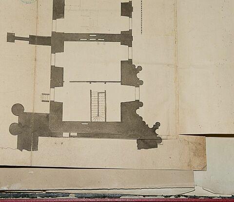 Plan du rez-de-chaussée des étages (du rez-de-chaussée à l'attique) de la partie ouest de l'aile sud de la Cour Carrée du Louvre, 1740