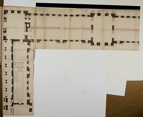 Projet pour la Bibliothèque du Roi au Louvre. Plan du premier étage de la partie sud de la Colonnade et de l'aile sud de la Cour Carrée, 1768