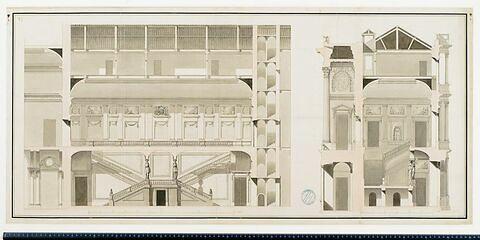 Projet pour la Bibliothèque du Roi au Louvre. Profils et coupes sur la largeur et en travers pour l'escalier de la Bibliothèque du Roi , 1768