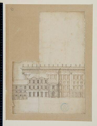 Projet pour le Louvre. Elévation pour la façade sur Seine pour l'aile sud de la Cour Carrée