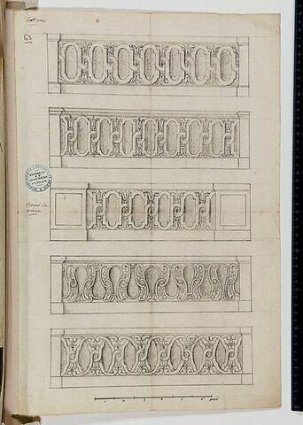 Cinq motifs de guillochis pour des balustrades (?) du Louvre