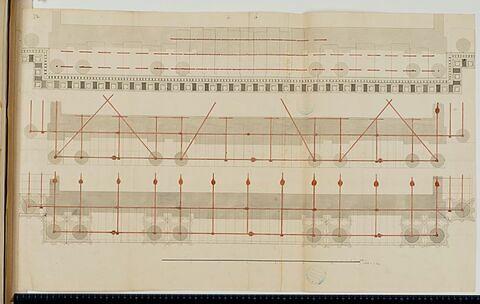 Trois schémas d'armatures d'une corniche par les éléments métalliques