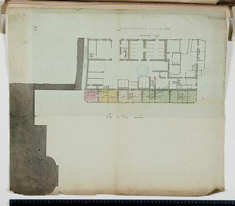 Plan des baraques dans la cour du Louvre (Cour Napoléon)