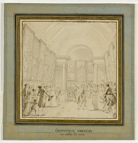 L'Impératrice Joséphine accompagnée du baron Dominique-Vivant Denon visitant le Salon de 1808