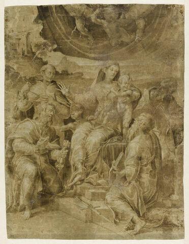 Sainte Famille avec le petit saint Jean, saint Pierre, saint Paul et saint Antoine de Padoue