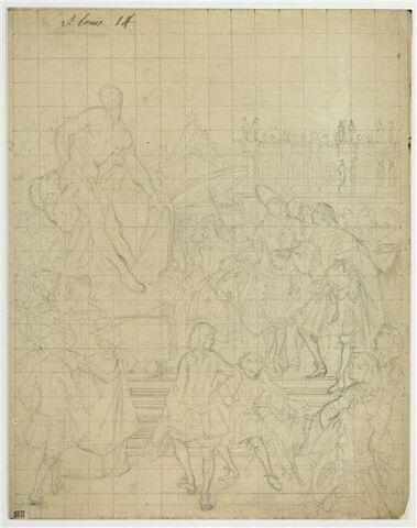 Pierre Puget présentant son groupe sculpté Milon de Crotone à Louis XIV dans les jardins de Versailles