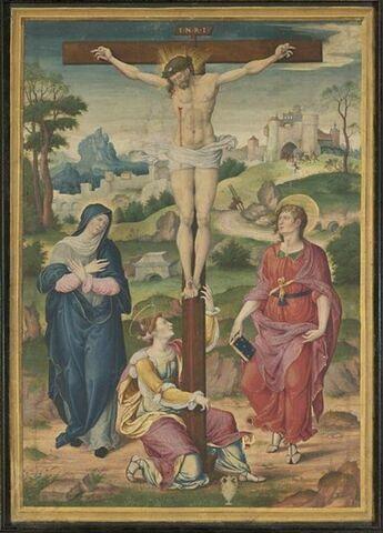 Le Christ crucifié, entre la Vierge et saint Jean Evangéliste, avec, au pied de la Croix, sainte Marie-Madeleine agenouillée