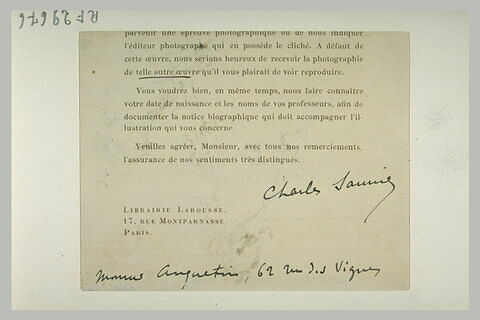 Circulaire de la maison Larousse signée Charles Saunier (?) et adressée de façon manuscrite à 'Monsieur Louios Anquetin, 62 rue des Vignes'