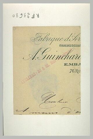 Fragnent d'une lettre adressée à Louis Anquetin sur papier à l'en-tête de l'emballeur A. Guinchard