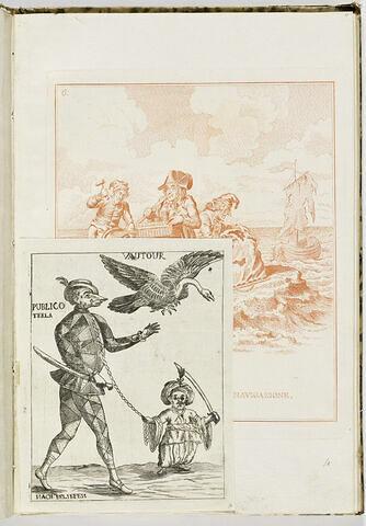 Un vautour vole au-dessus d'un nain et d'un personnage anthropo-zoomorphe