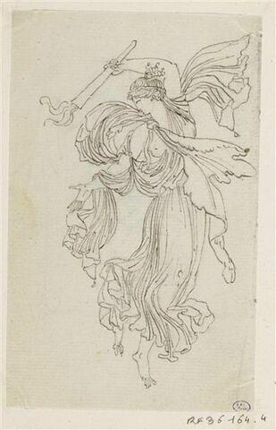 Figure féminine drapée à l'antique, volant, tenant de la main gauche une torche allumée, renversée