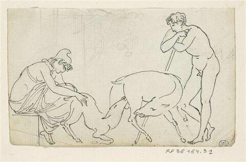 Scène antique : deux bergers encadrant un agneau (?) têtant sa mère