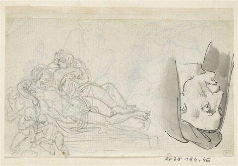 Feuille d'études : à gauche, déploration du Christ (?), à droite, en sens inverse, tête d'homme coiffé d'un bonnet recouvert d'un capuchon