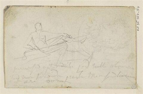 Croquis d'un homme nu, à demi allongé et annotations