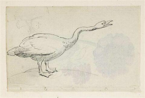 Une oie, de profil à droite, bec ouvert, cou tendu ; en travers, petit croquis d'un homme coiffé d'une grande toque