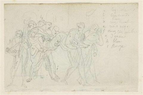 Scène antique : groupe de personnages portant un homme étendu sur le dos