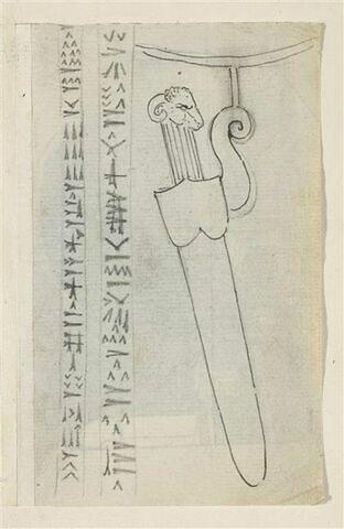 Poignard à tête de bélier, dans son fourreau et écriture cunéiforme