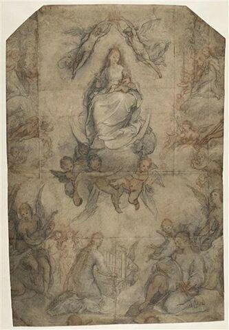 Vierge à l'Enfant en gloire entourée  de sainte Cécile et d'anges musiciens
