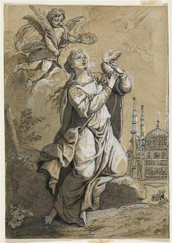 Sainte Sophie tenant un coeur ardent, couronnée par un angelot qui lui apporte la palme du martyre, avec la mosquée Süleymaniye à l'arrière-plan