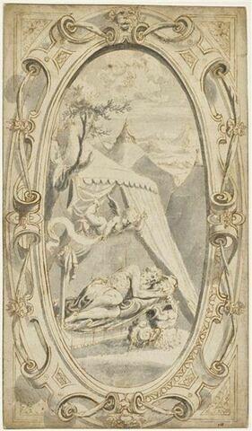 Cartouche ovale surmonté d'un mascaron entouré de cuirs avec, au centre, le Songe de Constantin