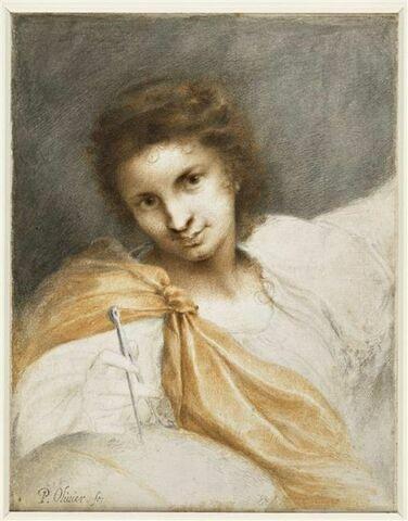 Jeune femme drapée, vue en buste, posant de la main droite un compas sur une sphère
