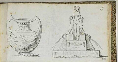 Vase et fontaine