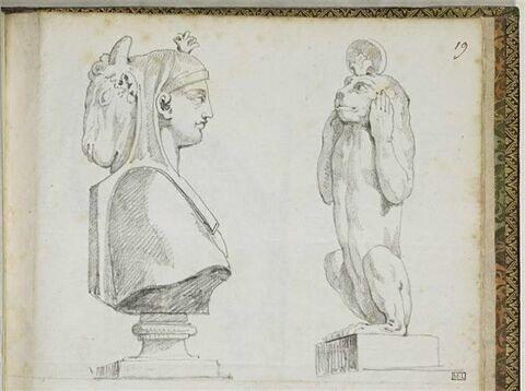 Statue d'Osiris-Apis et statue de singe dressé