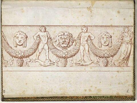 Frise ornée de guirlande, masques et personnages
