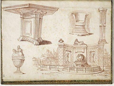 Cinq dessins: table antique, vase orné de bustes féminins, trône, pilier, fontaine architecturée