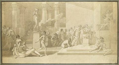 Etude pour Les jeunes Athéniens et les jeunes Athéniennes tirant au sort pour être livrés au Minotaure