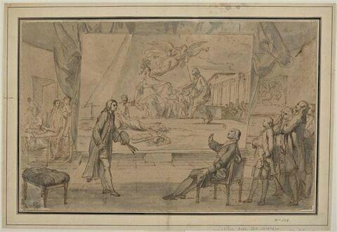 Un peintre présentant à l'abbé Terray un tableau de l'allégorie du dégagement de la colonnade du Louvre