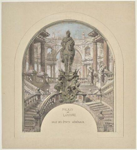 Un projet pour la salle des Etats du palais du Louvre : un empereur à cheval sur un piédestal avec des esclaves sur un escalier à double révolution devant un portique