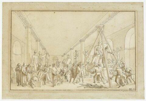 Enlèvement des sculptures du musée de Cassel, avec au centre Dominique-Vivant Denon